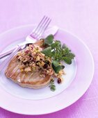 Fried tuna with fennel and pistachio salad