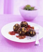 Moroccan meatballs with pine nuts, tomato sauce