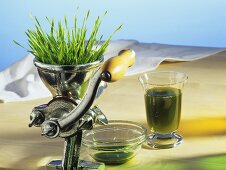 Wheatgrass in a juicer with a glass of juice