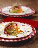 Marinated charr on apple salad