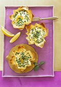 Yufka pastry baskets filled with ricotta and peas