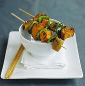 Pumpkin and pepper kebabs