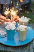 Vanilla ice cream with marshmallows