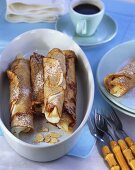 Crêpes filled with ginger mascarpone cream and pears