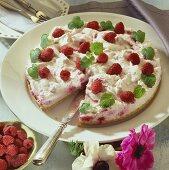 Raspberry cream torte, a piece cut
