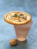 Apple tartlet with Fourme d`Ambert cheese and walnuts