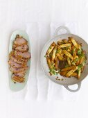 Stir-fried asparagus with duck breast