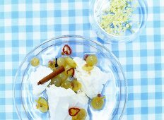 Fresh cheese with elderflowers and grapes