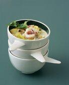 Sea bass, shellfish and vegetable stew