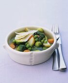 Vegetable stew with Parmesan and salsa verde