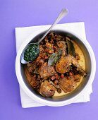 Guinea fowl ragout with pancetta and salsa verde