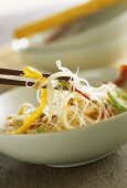 Glass noodles with peppers and sprouts