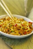 Curried rice with egg and mixed vegetables