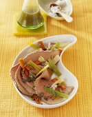 Cold boiled beef with root vegetables and pumpkin seed oil