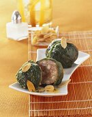 Spinach leaves stuffed with mince & sheep's cheese, almonds
