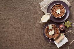 Chocolate tarts with marzipan sauce