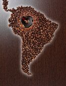 South America made of coffee beans with a coffee lake