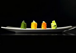 Small vegetable sensory canapes (molecular gastronomy)