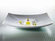 Sepia, leek, olive sauce, hazelnut milk (molecular gastronomy)