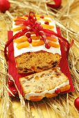 Fruit cake with white chocolate for Christmas