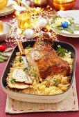 Turkey leg with sauerkraut for Christmas dinner
