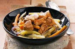 Marinated diced salmon with vegetables