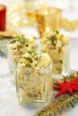Egg salad with mushrooms and mayonnaise