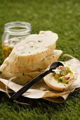 Damper bread (Australian bush bread) with apricot chutney