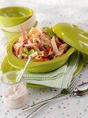 Pasta salad with ham, chorizo and vegetables