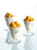 Frozen mousse with physalis and maple syrup
