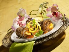 Caribbean beef roulade