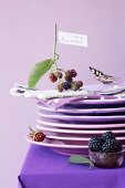 A stack of plates with napkins and a sprig of blackberries
