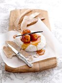 Poached nectarines with Camembert cheese and anise flatbread