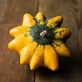 Yellow and green ornamental gourd
