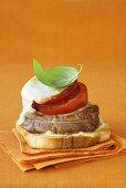 Fillet steak, tomato and mozzarella on toast