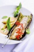 Fried bass fillet with curry sauce