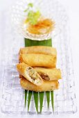 Rice paper rolls filled with prawns