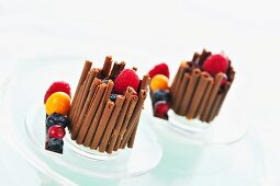 Fruit tarts with chocolate cases (chocolate rolls)