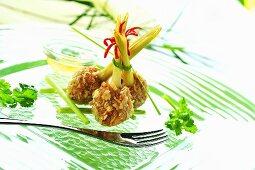 Breaded shrimp balls with lemon grass