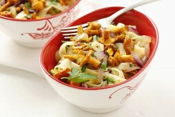 Tagliatelle with chanterelles and onions