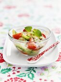 Warm fruit salad with mint