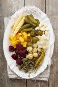 Pickled vegetables on a platter