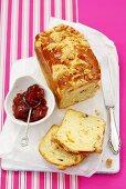 Tea bread with strawberry jam