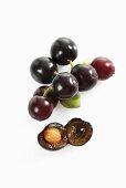 Cherry laurel cherries, whole and halved