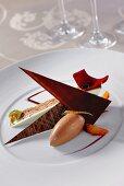 Chocolate sorbet with caramel