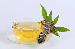 Agrimony tea in glass cup and saucer