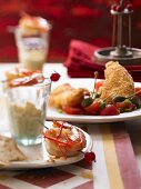 Breaded fish with tomatoes, chilli prawns (tapas buffet)