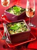 Spinach bake in baking dishes