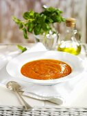 Gazpacho, olive oil and basil