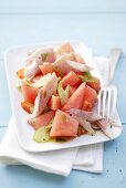 Watermelon salad with smoked trout